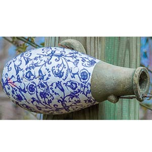 Aged Ceramic Bottle Birdhouse
